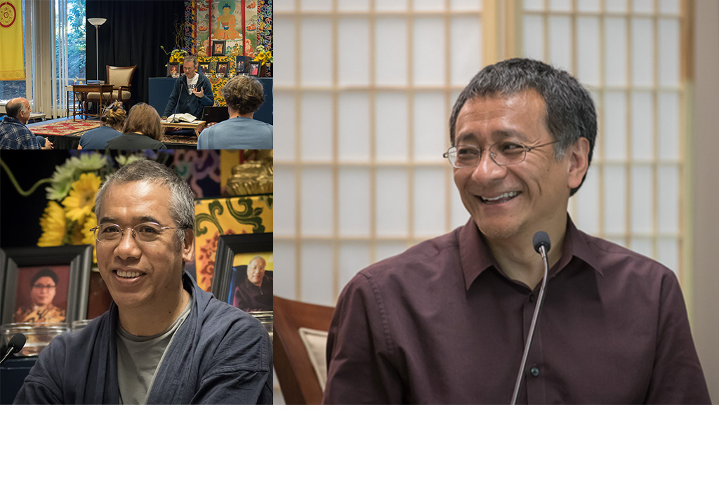 collage of Nitartha Institute teachers including Dzogchen Ponlop Rinpoche, Acharya Lama Tenpa and Mitra Karl Brunnhölzl